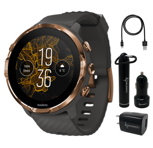 Suunto 7 Graphite Copper GPS Sports Smartwatch with Wearable4U Power Pack Bundle