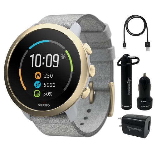 Suunto 3 Multisport Watch with Heart Rate Monitor, Pebble White Light Gold with Wearable4U Power Pack Bundle