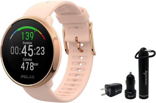 Polar Ignite Waterproof GPS Fitness Watch with Advanced Wrist-Based Heart Rate with Included Wearable4U Power Pack Bundle (S (130-185 mm), Pink/Rose)