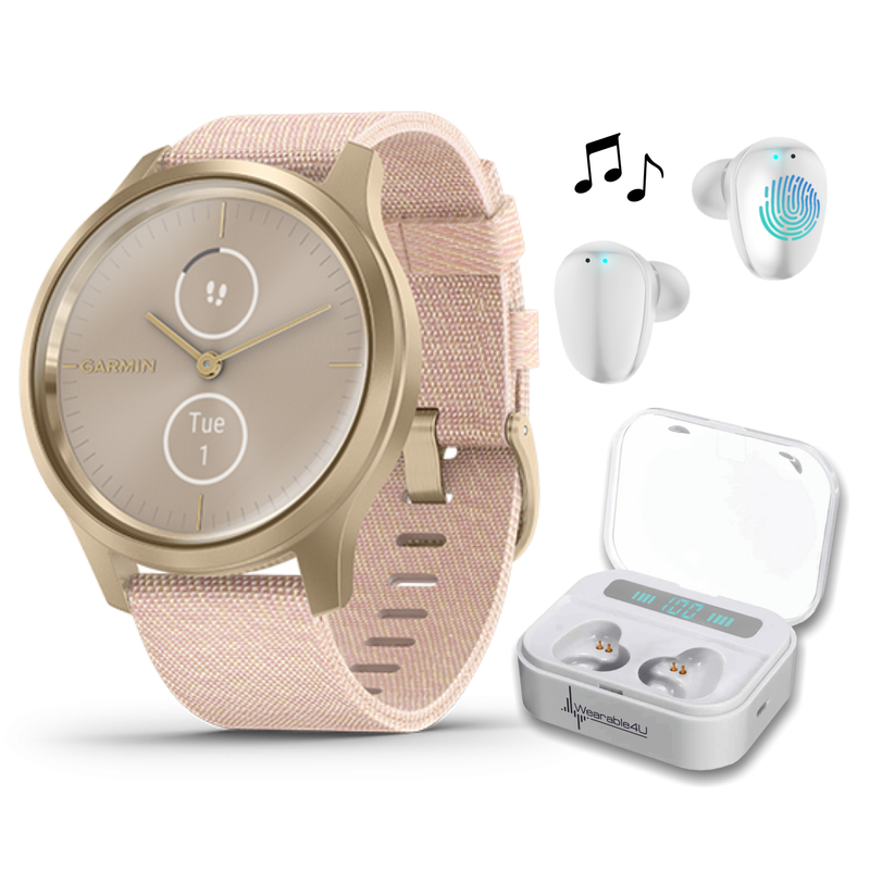 Garmin Vivomove 3 Style, Hybrid Smartwatch with Included Wearable4U Ultimate White Earbuds with Charging PowerBank Case Bundle (Blush Pink/Gold, Nylon)
