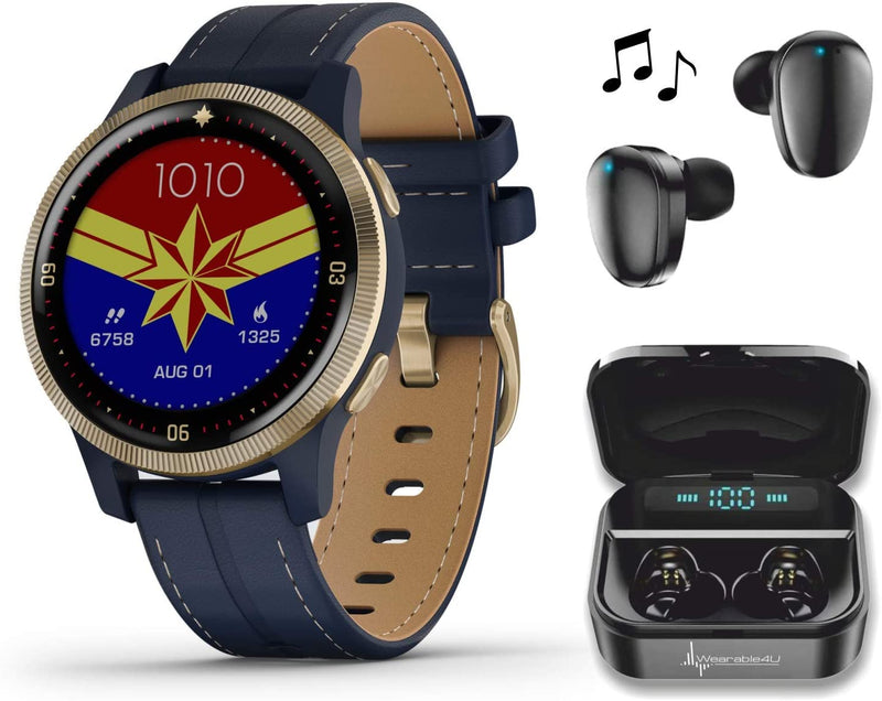 Garmin Legacy Hero Series, Captain Marvel Special Edition Premium Smartwatch with Included Wearable4U Ultimate Black Earbuds with Charging Power Bank Case Bundle