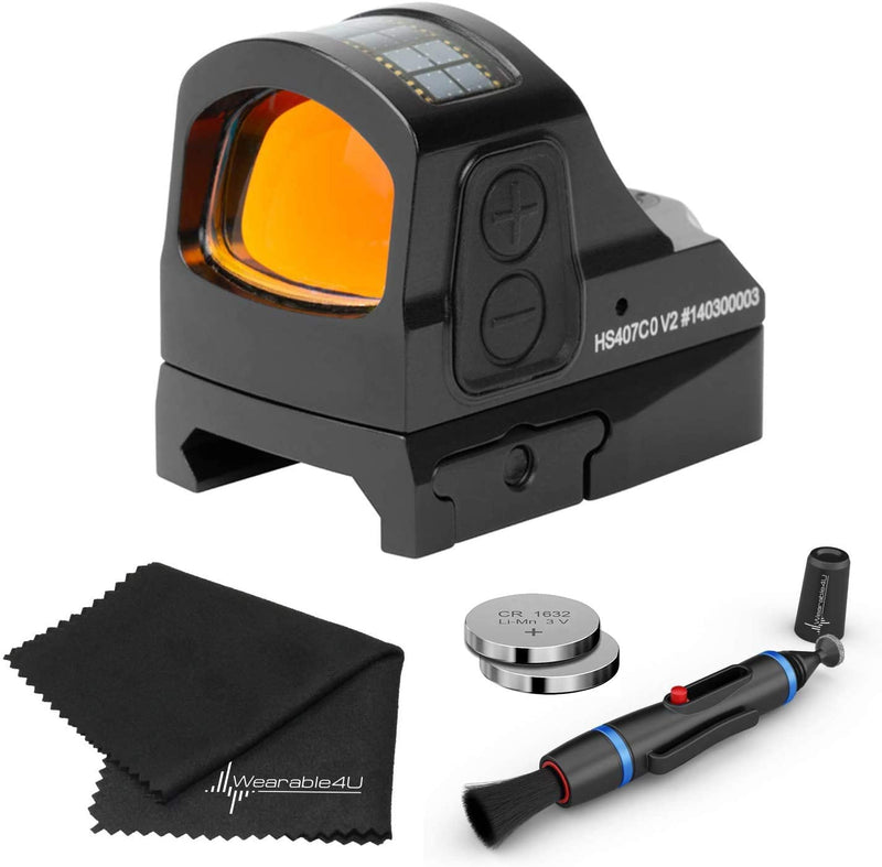 Holosun HS407CO-V2 Classic Red Dot Sight Lens Cleaning Pen, Extra Battery and Lens Cleaning Cloth Bundle