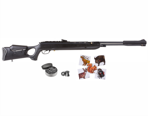 Hatsan Torpedo 150SN Sniper Vortex Piston Break Barrel .25 Caliber AirRifle with Wearable4U .25 cal 150ct Lead Pellets and 100x Paper Targets Bundle