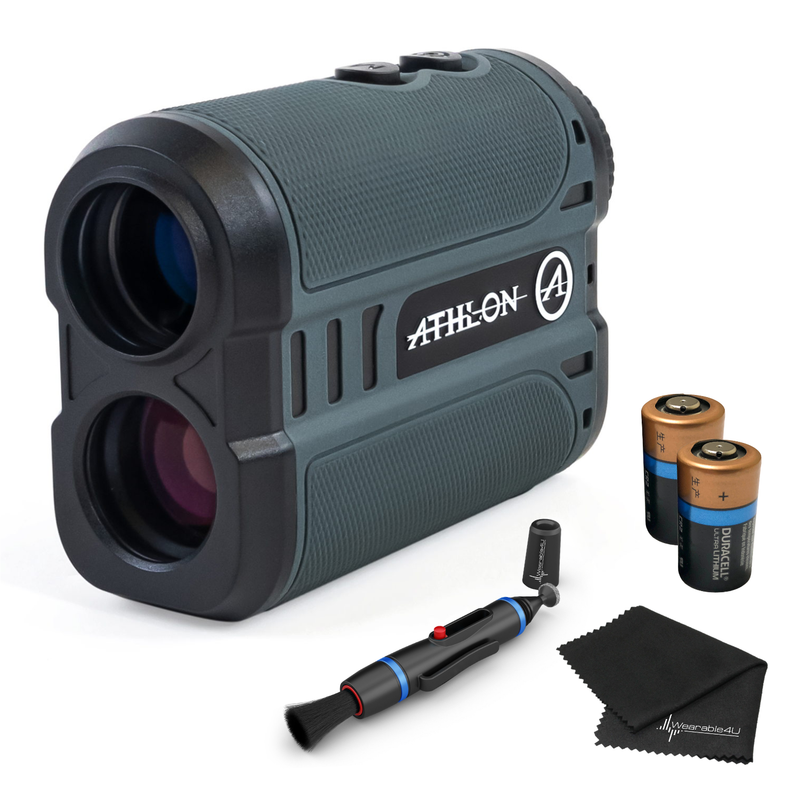 Athlon Optics MIDAS 1 Mile Grey Rangefinder with included Extra Battery CR2 and Wearable4U Lens Cleaning Pen and Lens Cleaning Cloth Bundle