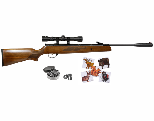 Hatsan Mod 95 Spring Combo .25 Caliber Break Barrel Air Rifle with Wearable4U .25 cal 150ct Pellets and 100x Paper Targets Bundle