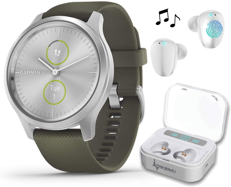 Garmin Vivomove 3 Style, Hybrid Smartwatch with Included Wearable4U Ultimate White Earbuds with Charging PowerBank Case Bundle (Moss Green/Silver)
