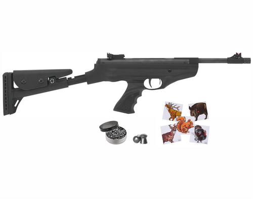Hatsan Mod 25 Spring Piston SuperTact .177 Cal Single-Shot Break Barrel AirPistol with Wearable4U  .177 cal 500ct Pellets and 100x Paper Targets Bundle