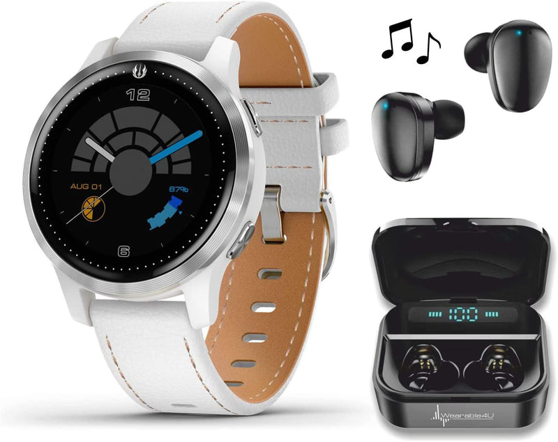 Garmin Legacy Saga Series, Star Wars Rey Inspired Premium Smartwatch, Features Jedi White Elements with Included Wearable4U Ultimate Black Earbuds with Charging Power Bank Case Bundle