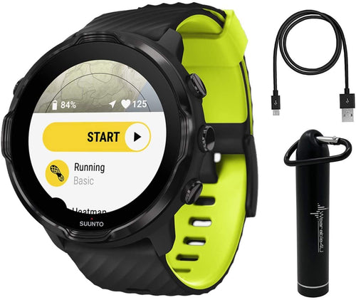 SUUNTO 7 Black Lime GPS Sports Smartwatch With Versatile Sports Experience with Wearable4U Power Bank Bundle