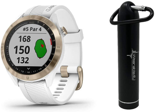 Garmin Approach S40 GPS Golf Smartwatch with Included Wearable4U Powerbank 2000 mAh Bundle (Light Gold with White Band)