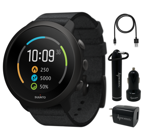 Suunto 3 Multisport Watch with Heart Rate Monitor, All Black with Wearable4U Power Pack Bundle