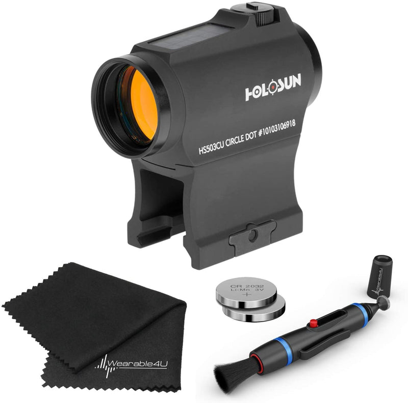 Holosun HS503CU Paralow Circle Red Dot Sight (Matte Black) Lens Cleaning Pen, Extra Battery and Lens Cleaning Cloth Bundle