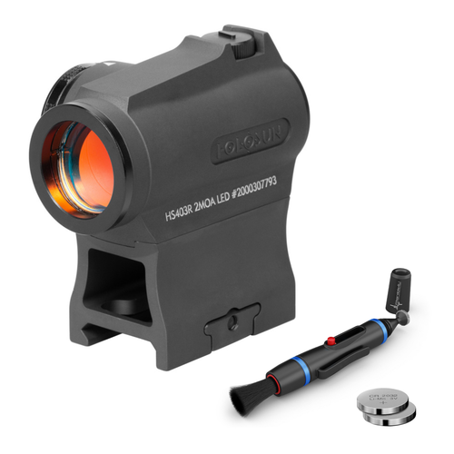 HOLOSUN HS403R Micro Reflex Sight, Black, 2 MOA Red Dot, 10DL & 2NV Brightness Settings, Rotary Switch, Multi-Layer Coating, Waterproof IP67, w/Lower 1/3 Height Mount & Low Base, with Wearable4U Extra CR2032 (100,000 hrs) and Cleaning Pen Bundle