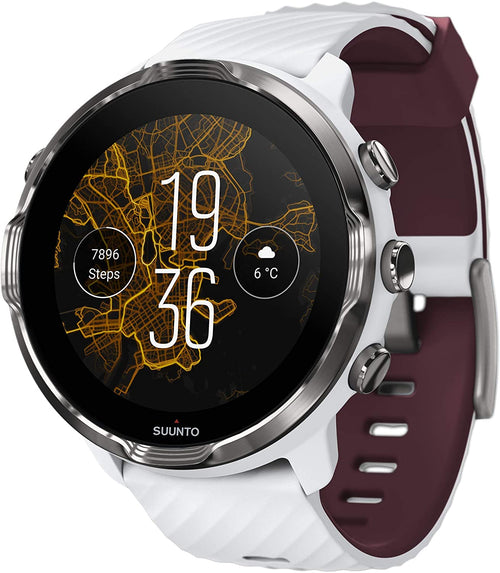 SUUNTO 7 White Burgundy GPS Smartwatch With Versatile Sports Experience