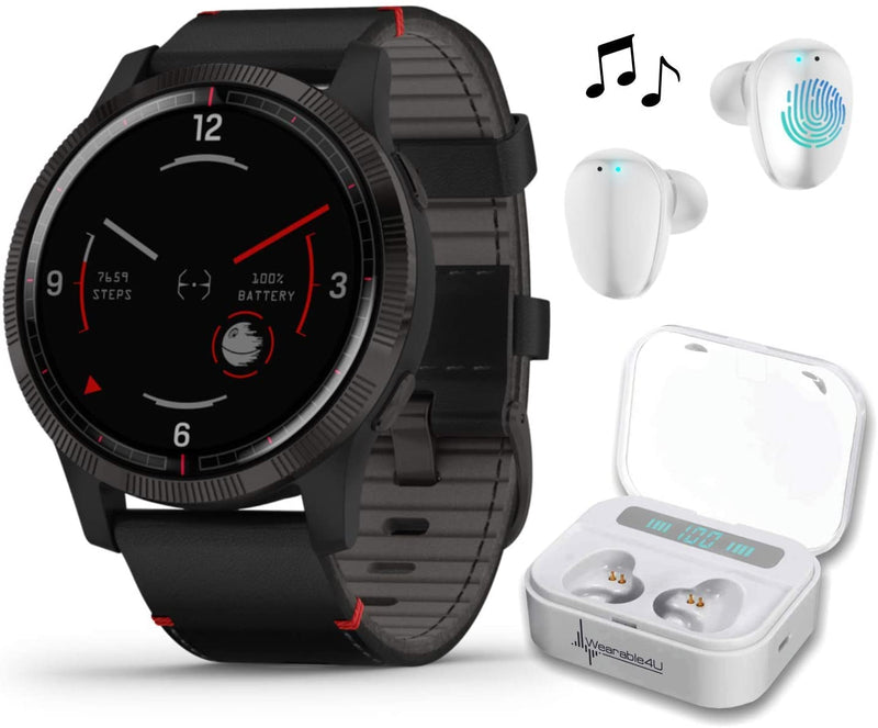 Garmin Legacy Saga Series, Star Wars Darth Vader Inspired Premium Smartwatch with Included Wearable4U Ultimate White Earbuds with Charging Power Bank Case Bundle