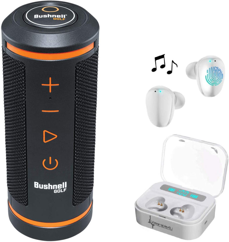 Bushnell Wingman GPS Bluetooth Speaker with Included Wearable4U Ultimate White EarBuds with Charging Power Bank Case Bundle