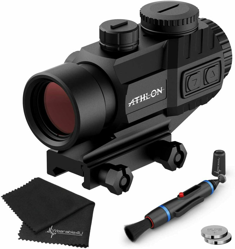 Athlon Optics Midas TSP3 Prism Scope, Capped Turrets, Red/Green Reticle with included Extra Battery CR2032 and Wearable4U Lens Cleaning Pen and Lens Cleaning Cloth Bundle