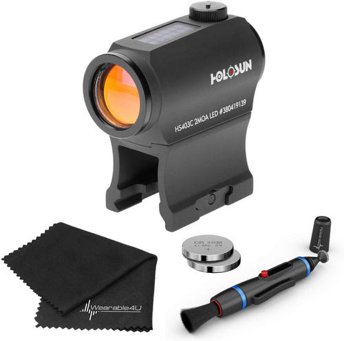 Holosun HS403C Solar Power Micro Red Dot Sight Lens Cleaning Pen, Extra Battery and Lens Cleaning Cloth Bundle