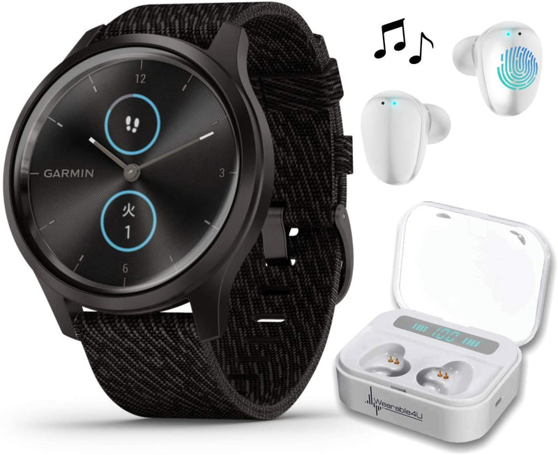 Garmin Vivomove 3 Style, Hybrid Smartwatch with Included Wearable4U Ultimate White Earbuds with Charging PowerBank Case Bundle (Black/Slate, Nylon)