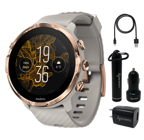 Suunto 7 Sandstone Rosegold GPS Sports Smartwatch with Wearable4U Power Pack Bundle