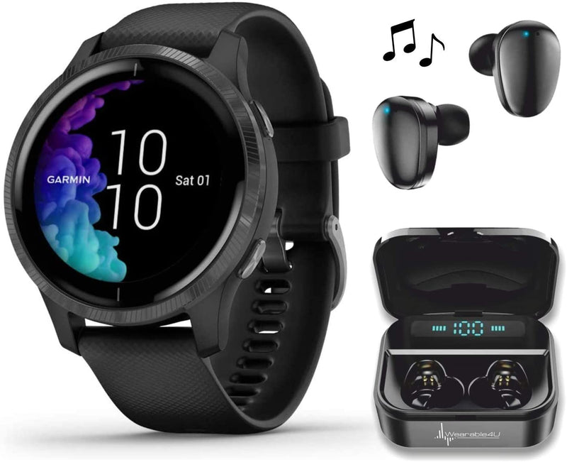 Garmin Venu GPS Smartwatch with AMOLED Display and Wearable4U Ultimate Black EarBuds with Charging Power Bank Case Bundle (Black/Slate)