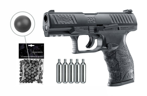 T4E .43cal Walther PPQ Paintball Pistol Black with CO2 and Rubber Balls Bundle