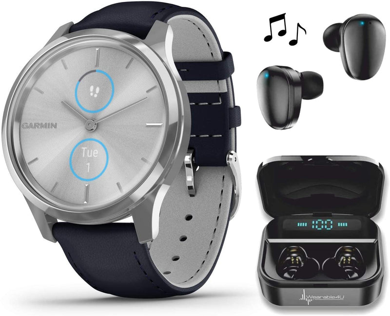 Garmin Vivomove 3 Luxe, Hybrid Smartwatch with Included Wearable4U Ultimate Black Earbuds with Charging PowerBank Case Bundle (Navy/Silver, Leather)
