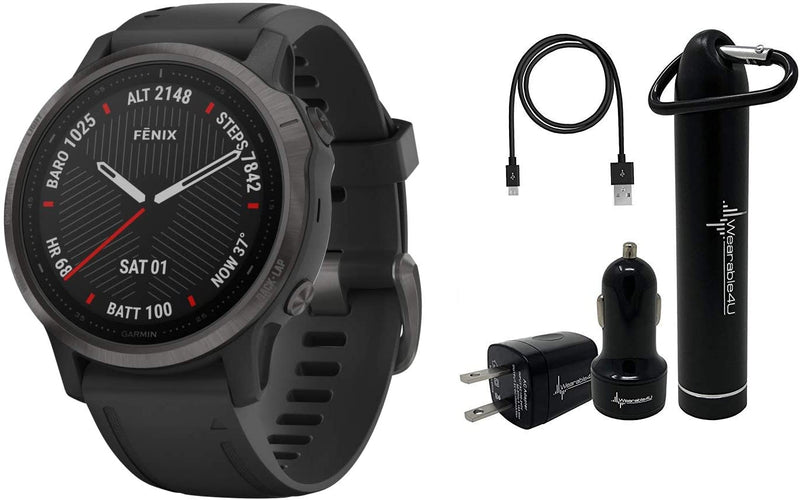 Garmin Fenix 6S Smaller-Sized Multisport GPS Watch with Wrist-Based Heart Rate Pulse Ox and Wearable4U Ultimate Power Bundle (Sapphire/Carbon Gray DLC with Black Band)