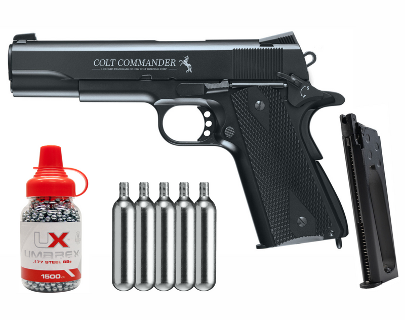 Umarex Colt Commander Blowback Metal Frame .177 BB Gun Air Pistol with  5 x 12g CO2 Tanks and Spare 18rds Mag and Wearable4U Pack of 1500 (.177) Steel BBs Bundle