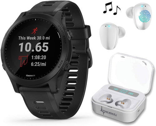 Garmin Forerunner 945 Premium GPS Running/Triathlon Smartwatch with Included Wearable4U Ultimate White EarBuds with Charging Power Bank Case Bundle (Black, Device Only)