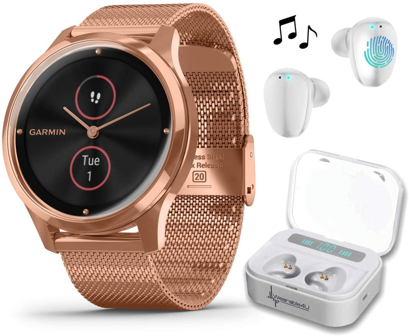 Garmin Vivomove 3 Luxe, Hybrid Smartwatch with Included Wearable4U Ultimate White Earbuds with Charging PowerBank Case Bundle (18K Rose Gold/Black, Milanese)