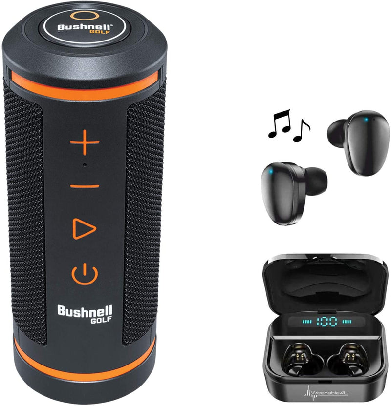 Bushnell Wingman GPS Bluetooth Speaker with Included Wearable4U Ultimate Black EarBuds with Charging Power Bank Case Bundle