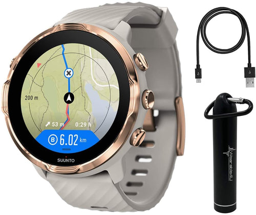 SUUNTO 7 Sandstone Rosegold GPS Sport Smartwatch with Versatile Sports Experience with  Wearable4U  Power Bank Bundle