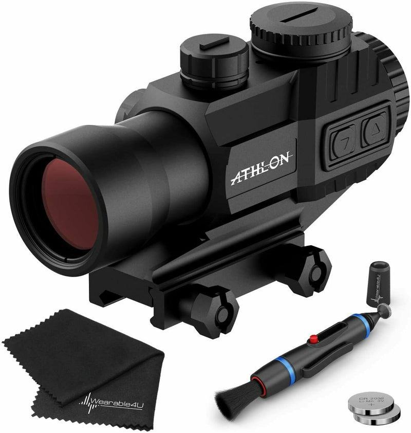 Athlon Optics Midas TSP4 Prism Scope, Capped Turrets, Red/Green Reticle with included Extra Battery CR2032 and Wearable4U Lens Cleaning Pen and Lens Cleaning Cloth Bundle