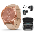 Garmin Vivomove 3 Luxe, Hybrid Smartwatch with Included Wearable4U Ultimate Black Earbuds with Charging PowerBank Case Bundle (Rose Gold/Light Sand, Leather)