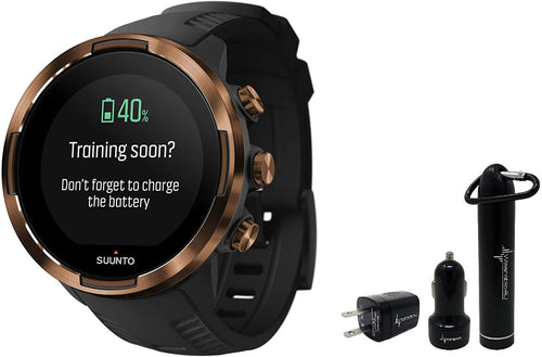 Suunto 9 Baro Durable Multisport GPS Watch with Barometric Altitude and Wearable4U Power Pack Bundle (Copper KAV)
