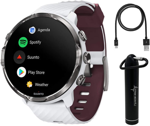 SUUNTO 7 White Burgundy GPS Smartwatch with Versatile Sports Experience with Wearable4U Power Bank Bundle