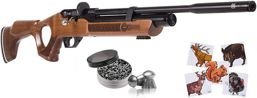 Hatsan Flash Wood QE QuietEnergy .25 Cal PCP Pre-charged pneumatic Air Rifle with Pack of 150ct Pellets and 100x Paper Targets Bundle (Hardwood Stock)