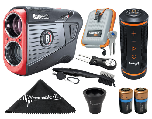 Bushnell Tour V5 Shift Patriot Pack Laser Golf Rangefinder with Bushnell Wingman GPS Bluetooth Speaker and Included Carrying Case, Carabiner, Lens Cloth, Two (2) CR2 Batteries and Wearable4U Ultimate 3 Golf Tools Bundle