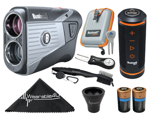 Bushnell Tour V5 Patriot Pack Laser Golf Rangefinder with Bushnell Wingman GPS Bluetooth Speaker and Included Carrying Case, Carabiner, Lens Cloth, Two (2) CR2 Batteries and Wearable4U Ultimate 3 Golf Tools Bundle