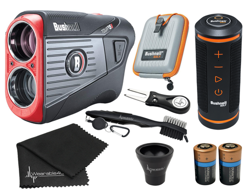 Bushnell Tour V5 Shift Laser Golf Rangefinder with Bushnell Wingman GPS Bluetooth Speaker and Included Carrying Case, Carabiner, Lens Cloth, Two (2) CR2 Batteries and Wearable4U Ultimate 3 Golf Tools Bundle