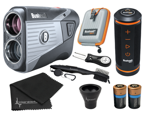 Bushnell Tour V5 Laser Golf Rangefinder with Bushnell Wingman GPS Bluetooth Speaker and Included Carrying Case, Carabiner, Lens Cloth, Two (2) CR2 Batteries and Wearable4U Ultimate 3 Golf Tools Bundle