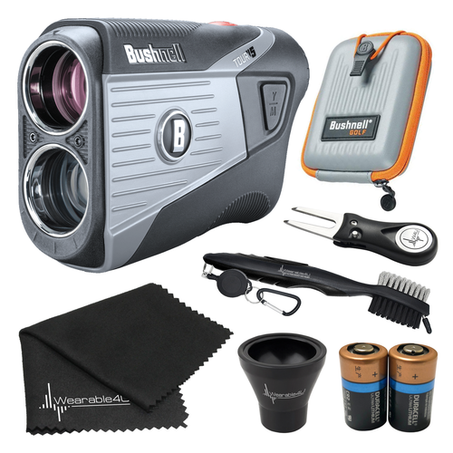 Bushnell Tour V5 Laser Golf Rangefinder with Included Carrying Case, Carabiner, Lens Cloth, Two (2) CR2 Batteries and Ultimate 3 Golf Tools Bundle