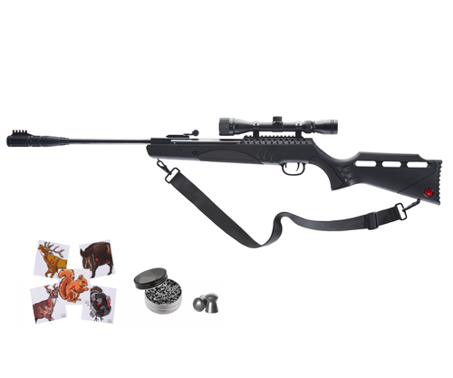 Rugеr Targis Hunter Max .22 Combo (3-9x32 Scope) Gas Piston Break Barrel AirRifle AirGun with Wearable4U 250x Pellets and 100x Targets Bundle