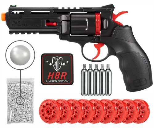 Umarex Limited Edition H8R w/ 10 mags and Custom Patch CO2 Airsoft BB Airgun with 5x 12gr CO2 Tanks and Wearable4U Pack of 1000 6mm EF BBs Bundle