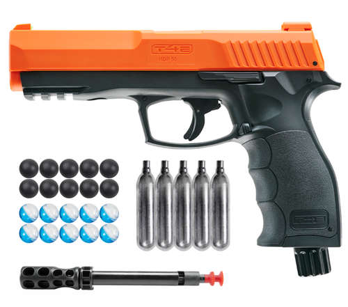 Umarex T4E by P2P HDP .50 Caliber Pepper Ball Air Pistol with Included 5x 12g CO2 Tanks and Pepper Balls, Powder Balls and 10x Rubber Balls Bundle