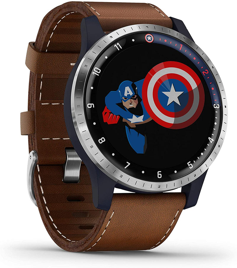 Garmin Legacy Hero Series, First Avenger Captain America Inspired Premium Smartwatch with Included Wearable4U Ultimate Black Earbuds with Charging Power Bank Case Bundle