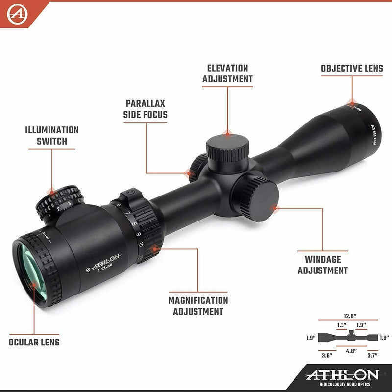 Athlon Optics Talos 3-12x40, Capped , Side Focus, 1 inch, SFP, BDC 600 IR Riflescope with included Extra Battery CR2032 and Wearable4U Lens Cleaning Pen and Lens Cleaning Cloth Bundle