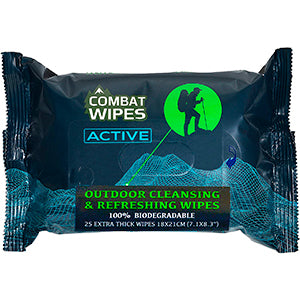 Combat Wipes Active Outdoor Wet Wipes | Extra Thick, Ultralight, Biodegradable, Body & Hand Cleansing/Refreshing Wet Wipes for Camping, Travel, Gym & Backpacking w/Natural Aloe & Vitamin E