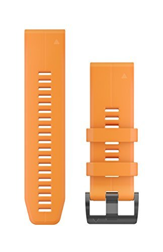 Garmin 010-12741-03 Quickfit 26 Watch Band - Solar Flare Orange Silicone - Accessory Band for Fenix 5X Plus/Fenix 5X